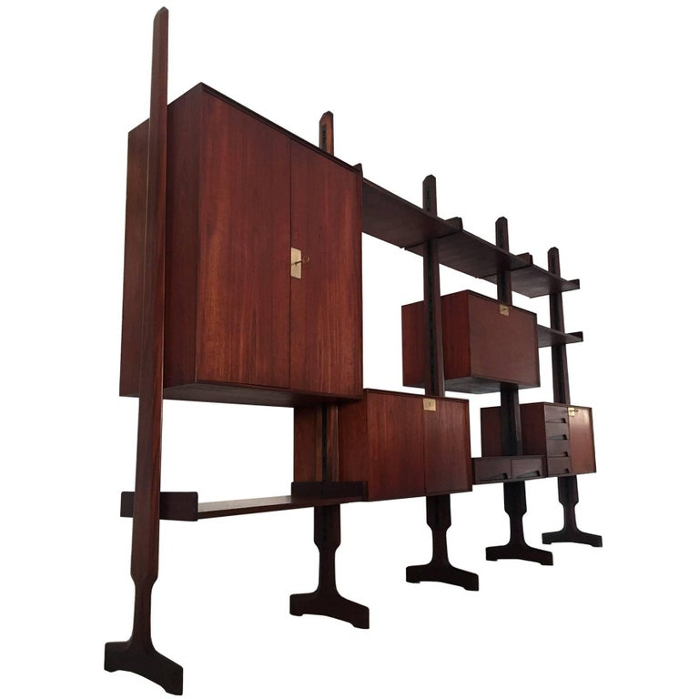 Italian Teak Wood freestanding Bookcase by Palutari for Dassi, 1950s