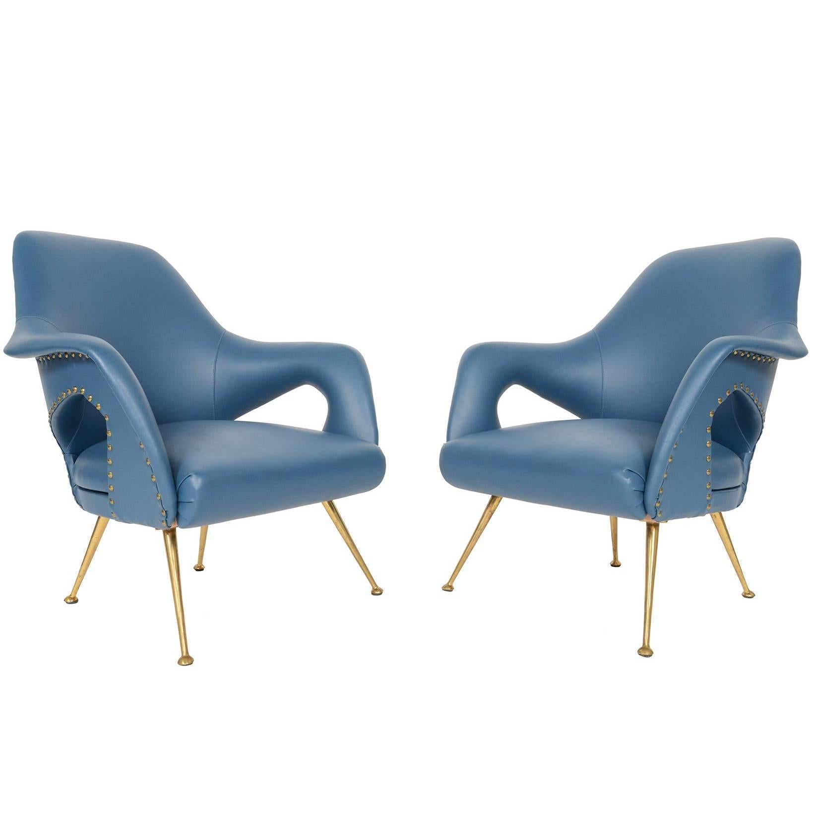 Pair Of Italian Modern Lounge Chairs In Blue Vinyl For Sale