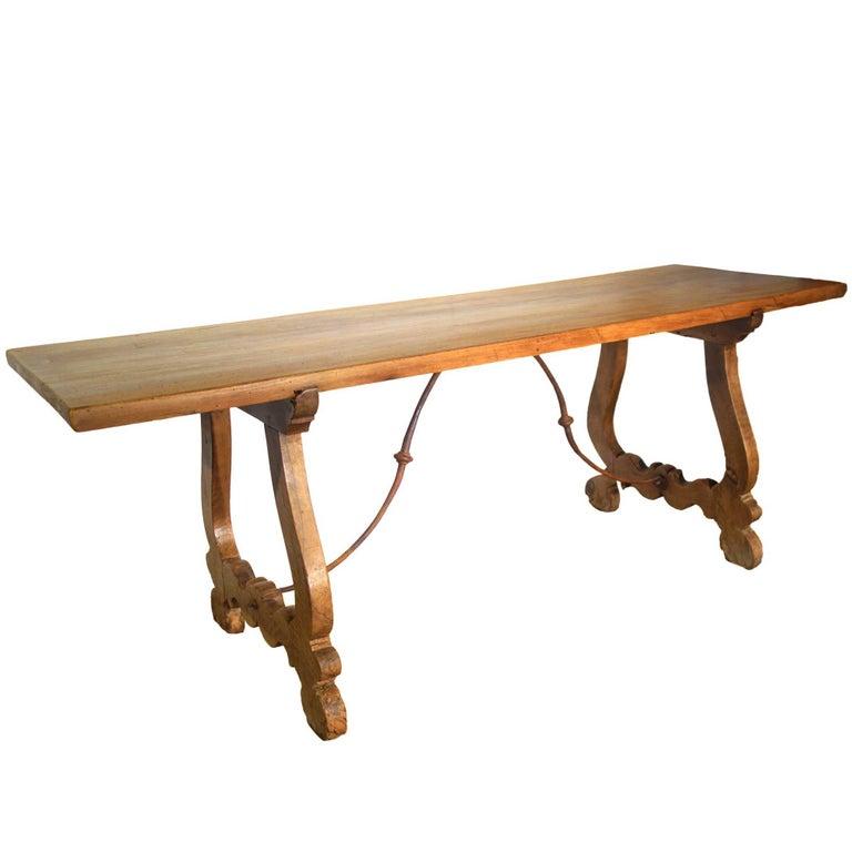 19th Century Italian Rustic Tuscan Farmhouse Refectory Walnut Table Ca 1840