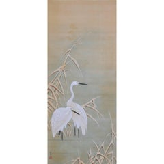19th Century Japanese Bird and Flower Painting, Herons and Reeds, Hara School