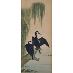 19th Century Japanese Bird and Flower Painting, Cormorants and Willows