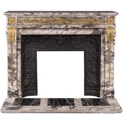 Antique Louis XVI Style Fireplace in Violet Breccia Marble with Bronze Ornaments