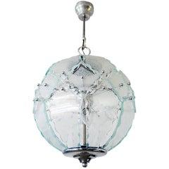 1970 Italy Fontana Arte Chandelier O4 Zero Quattro Murano Glass & Chrome