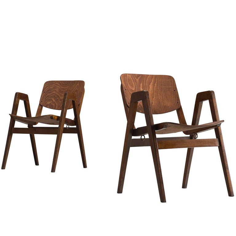 Two Bent Armchairs for Thonet, 1960s