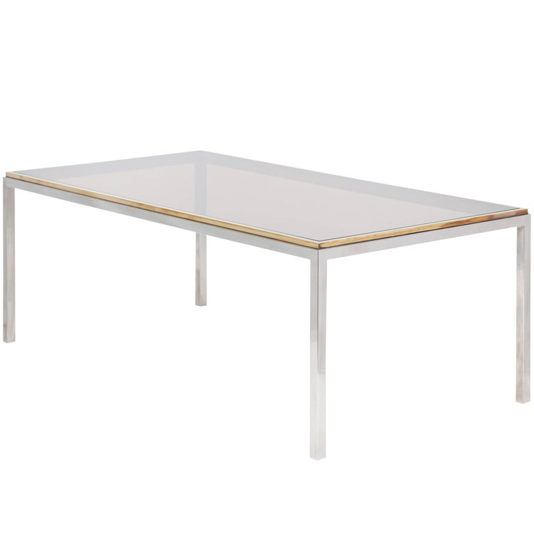 """Willy Rizzo """"Flaminia"""" Brass and Chrome Dining Table, 1970s"""