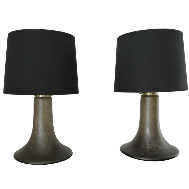 Pair Of 1950s Piell Putzler Designer Glass Lamps For Sale