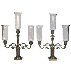 Pair of Three-Glass Classical Figural Lighting Candelabrum, circa 1830-1840