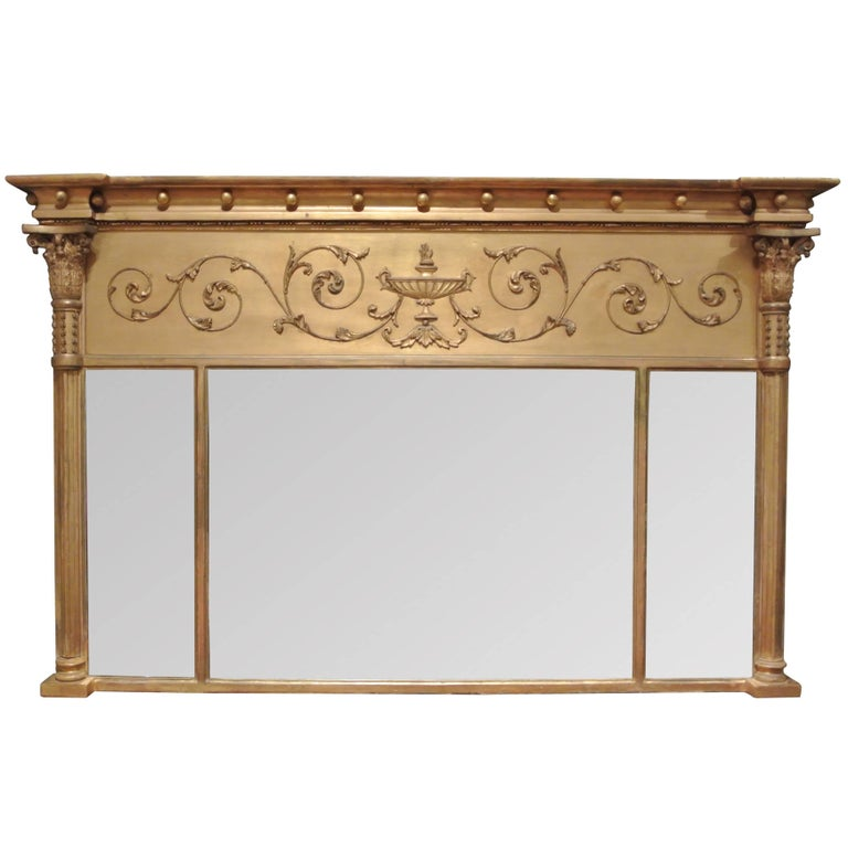 Antique Regency Giltwood Overmantel Mirror