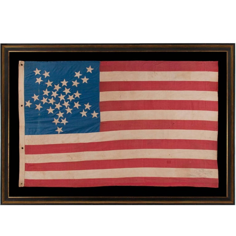 """33 Stars in a """"Great Star"""" or """"Great Luminary"""" Patter on a Homemade Flag"""