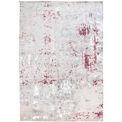 Handmade Contemporary Rug in Silk and Wool Garnet and Gray Shades