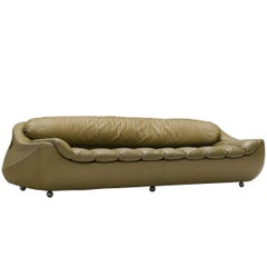 Italian Olive Green Leather Sofa