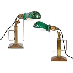 Pair of Beardslee Lamps with Emeralite Clamshell Shades, circa 1905