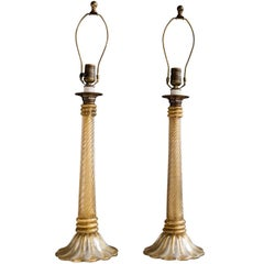 Pair of Murano Glass Table Lamps by Barovier and Tosso