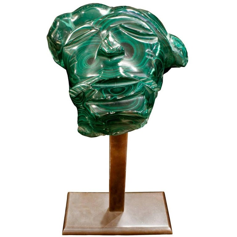 Karl Springer Hand-Carved Malachite Head, 1970s For Sale