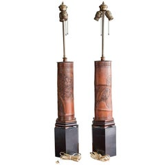 Antique Chinese Carved Bamboo Table Lamps