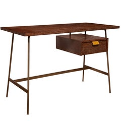 French Midcentury Cerused Oak Desk