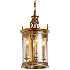 Large Brass Classical Revival Entry Lantern, circa 1920s