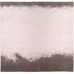Mohair Area Rug in White with Grey Cloud Border