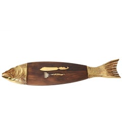 Mid-20th Century Teak Fish Platter with Gold Tone Fish Serving Fork and Knife
