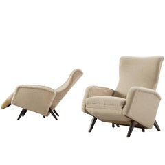 Italian Reclining Chairs in Beige Upholstery, 1950s