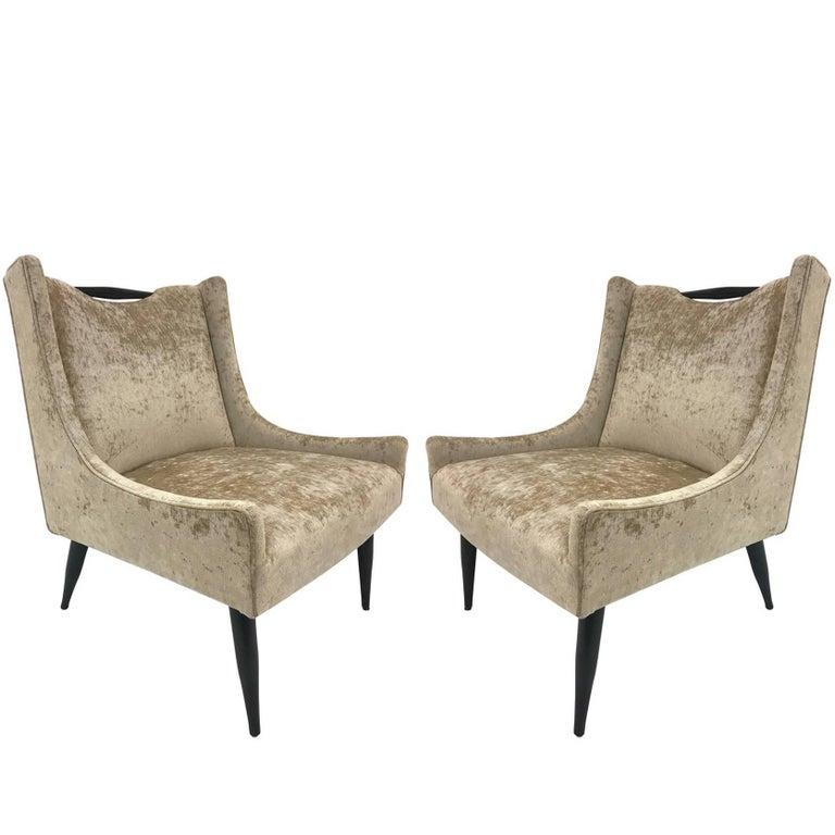 Pair of Harvey Probber Slipper Chairs in Velvet