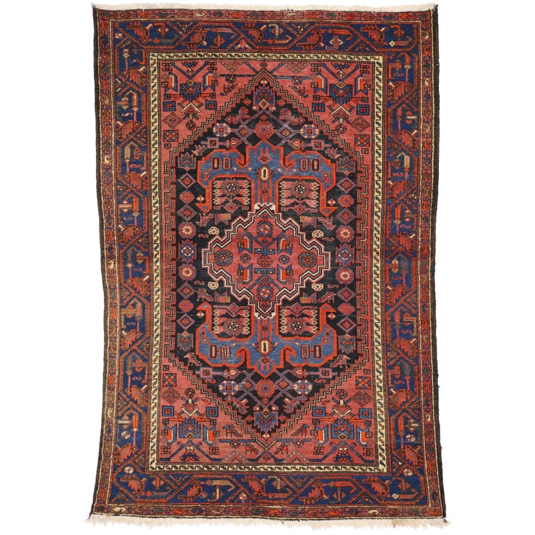 Persian Tribal Rugs: Antique Persian Hamadan Rug With Modern Tribal Style For