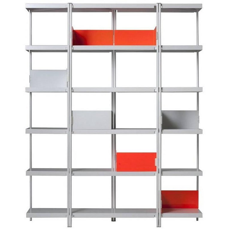 Zigzag bronze painted steel and walnut low bookcase by k - Etagere zig zag ...