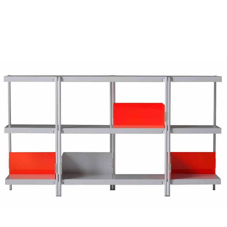 Zigzag Black Or White Painted Steel Low Bookcase By Konstantin Grcic Driade For