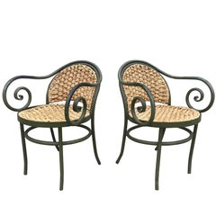 Chic Pair of 1950s French Iron and Rush Armchairs After Thonet