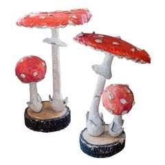 Pair of Midcentury French Faux Bois Mushroom Ornaments Found in France