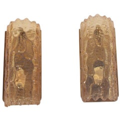Pair of Amber Glass Wall Sconces by Carl Fagerlund for Orrefors