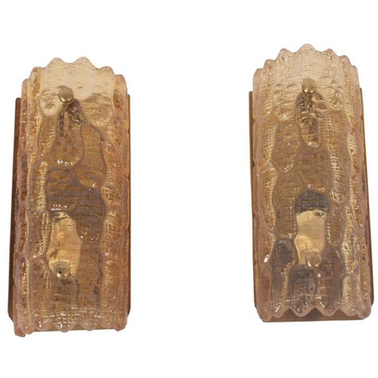Pair of Amber Glass Wall Sconces by Carl Fagerlund for Orrefors 1