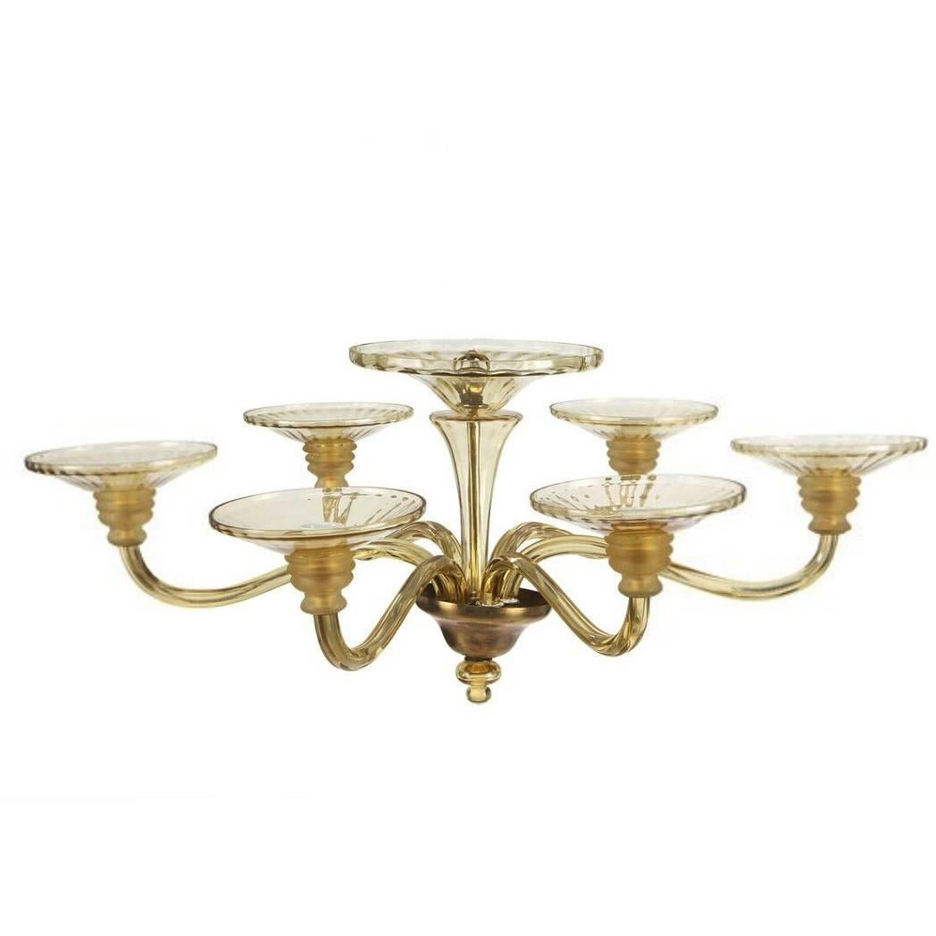 Large Murano Art Deco Amber-Glass Chandelier