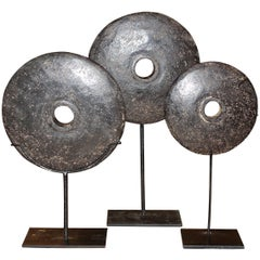 19th Century Set of Three Black Stone Coins on Stands, Indonesia