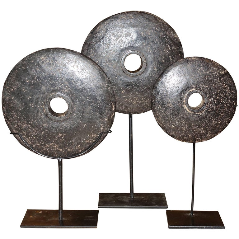 19th Century Set of Three Black Stone Coins on Stands, Indonesia For Sale