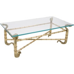 Rare and Fantastic Polished Brass Cobra Coffee Table by Arturo Pani