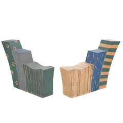 Important Pair of Contemporary Studio Pottery Stoneware Loveseats