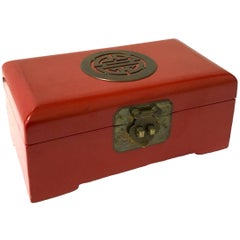 Chinese Red Lacquer with Brass Accents Box