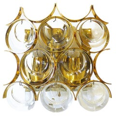 Gold-Plated Crystal Glass Wall Sconce by Palwa, Germany, 1960s