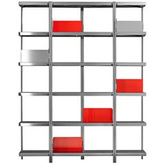 """Zigzag"" Mirror Finished Steel High Bookcase by Konstantin Grcic for Driade"