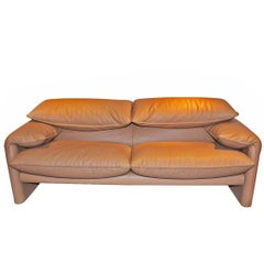 "Sofa ""Maralunga"" by Manufacturer Cassina in 100% Genuine Leather"
