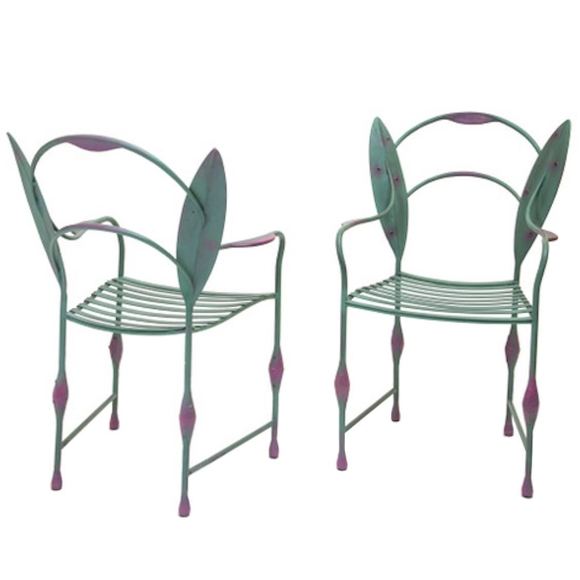 Two Wrought Iron Chairs by Andrea Branzi Prototype, Italy