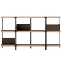 """Zigzag"" Bronze Painted Steel and Oak Veneered Low Bookcase by K. Grcic, Driade"