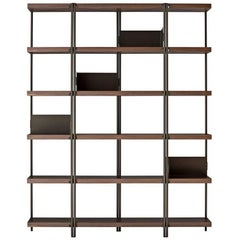 """ZigZag"" Bronze Painted Steel and Walnut High Bookcase by K. Grcic, Driade"