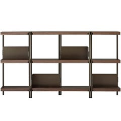 """""""ZigZag"""" Bronze Painted Steel and Walnut Low Bookcase by K. Grcic, Driade"""