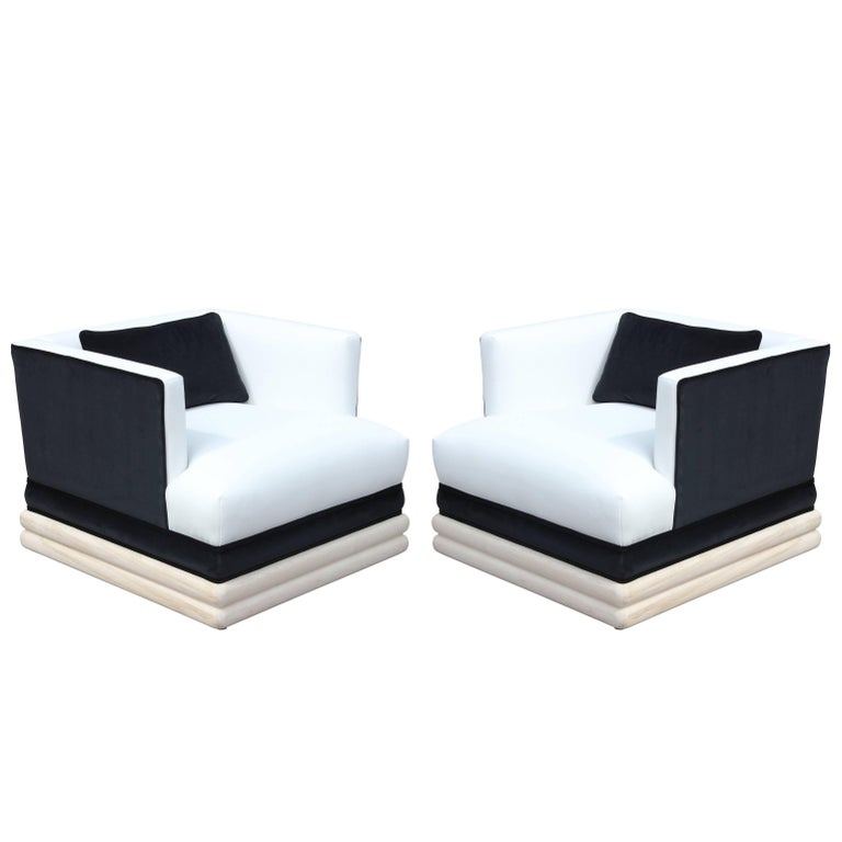 Pair of Modern Square Lounge Chairs with Bleached Wood Black and White Velvet