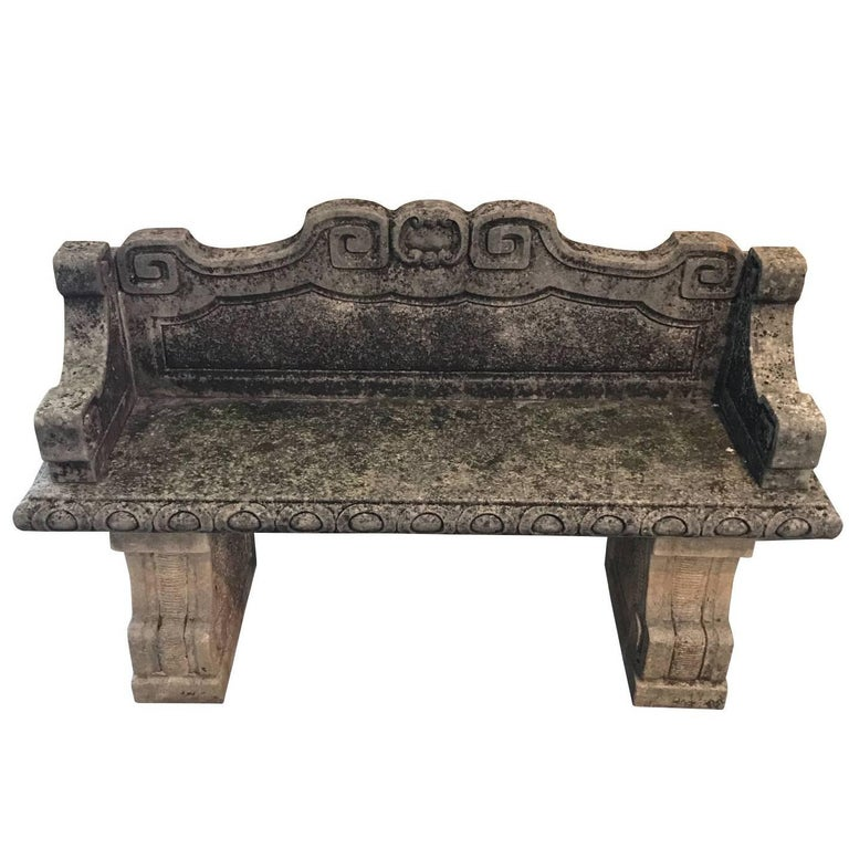 Pair of Vicenza Stone Benches with Back, Italy, 1920s