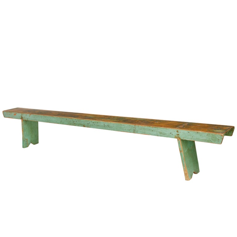 19th Century Scandinavian Painted Pine Bench For Sale