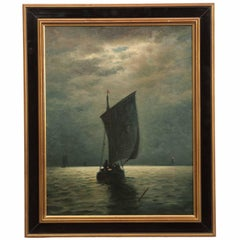"James Gale Tyler Painting of Ships ""Fishing by Moonlight"""