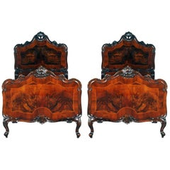 1930s Venetian Baroque Pair Beds Carved Walnut, Attributable Testolini-Salviati